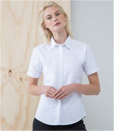 HENBURY LADIES SHORT SLEEVE CLASSIC OXFORD SHIRT