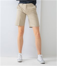 HENBURY LADIES TEFLON COATED FRONTED CHINO SHORTS
