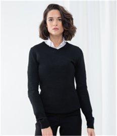 HENBURY LADIES CASHMERE TOUCH ACRYLIC V NECK JUMPER