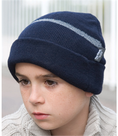 Result Children's Wooly Ski Hat with Reflective Woven Threaded Band